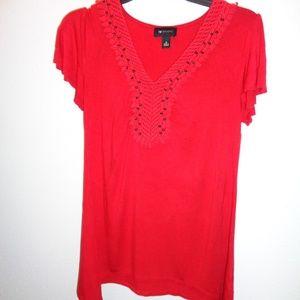 Women's AB Studio Crochet Your Way Red Top Size M